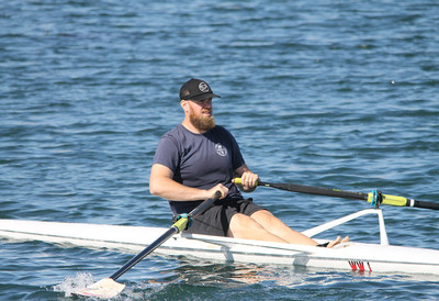 A Wounded Warrior shows good form rowing on San Diego's Mission Bay.