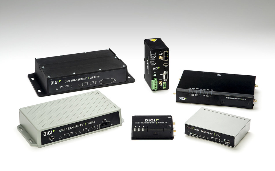 Digi TransPort® Series routers, including its newest Digi TransPort WR11XT (front).