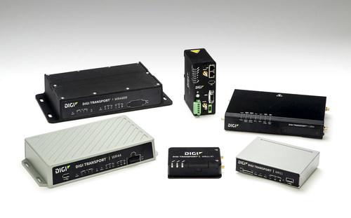 Digi TransPort® Series routers, including its newest Digi TransPort WR11XT (front).