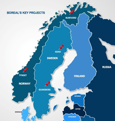 Figure 1 - Location of Boreal's Key Projects (CNW Group/Boreal Metals)