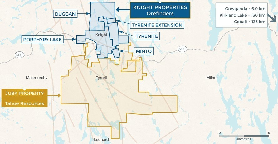 Orefinders Knight Project Core Assets Map (CNW Group/Orefinders Resources Inc.)