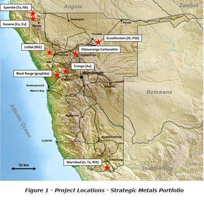 Figure 1 - Project Locations - Strategic Metals Portfolio (CNW Group/Namibia Rare Earths Inc.)