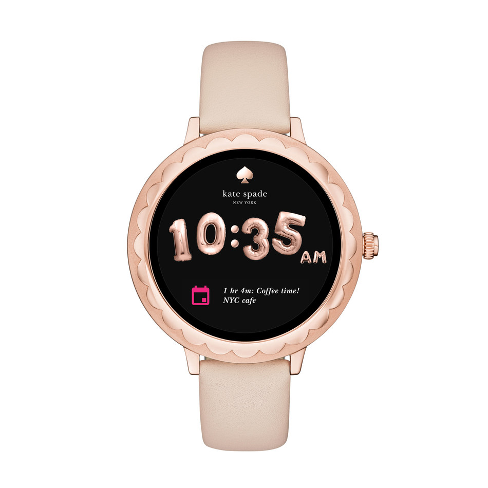 kate spade new york touchscreen smartwatch with a rose gold-tone case with a soft vachetta leather strap.