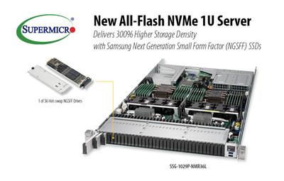 Novo servidor de armazenamento all-flash em 1U da Supermicro dá suporte a 36 SSDs de NGSFF da Samsung.