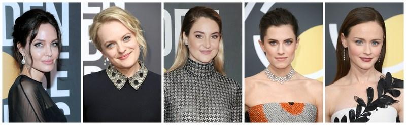 Angelina Jolie, Elisabeth Moss, Shailene Woodley, Allison Williams, and Alexis Bledel Sparkle in Forevermark Diamonds at the 2018 Golden Globe Awards