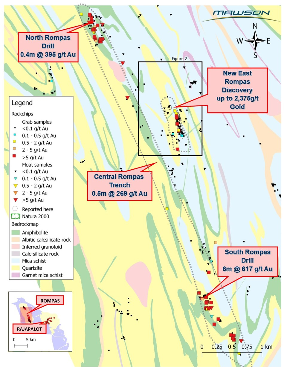 Figure 1: The Rompas and East Rompas mineralization trends. (CNW Group/Mawson Resources Ltd.)