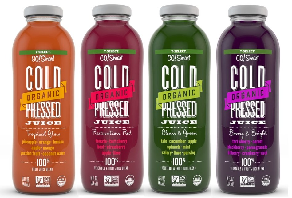 7-Eleven stores are carrying a new line of proprietary juices that rival those prepared fresh in free-standing, high-end juice bars. The new organic, cold-pressed juices are part of the retailer's 7-Select GO!Smart private brand line of premium better-for-you snacks and beverages.