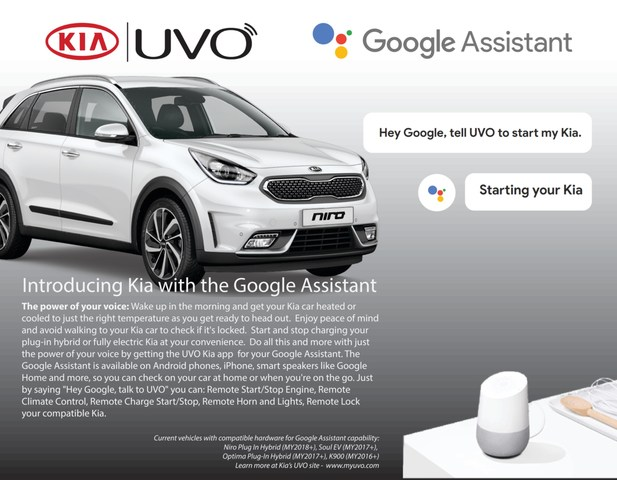 Kia Motors America Introduces Google Assistant Into The Award- Winning UVO Infotainment System