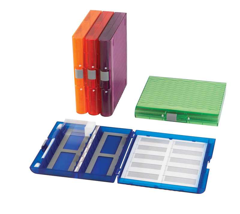 Premium Plus Slide Microscope Slide Boxes by Heathrow Scientific are a durable solution for every day users in research labs with features like a removable inventory card that is replaceable when full and a centrally positioned location grid for easy viewing and retrieving of slides. The unique design of the slide boxes brings a modem look with vibrant translucent colors to laboratories and includes a side storage compartment that can accommodate a pen or desiccant pack.