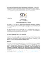 "SDX Energy Inc. (""SDX"" or the ""Company"") - Update on drilling operations in Morocco (CNW Group/SDX Energy Inc.)"