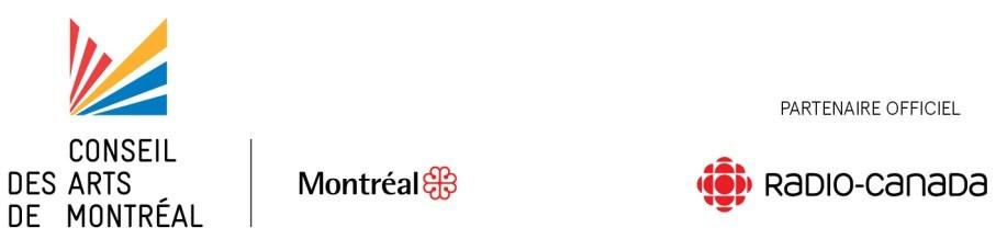 Logos: Conseil des arts de Montréal, Ville de Montréal, Radio-Canada (CNW Group/Conseil des arts de Montréal)