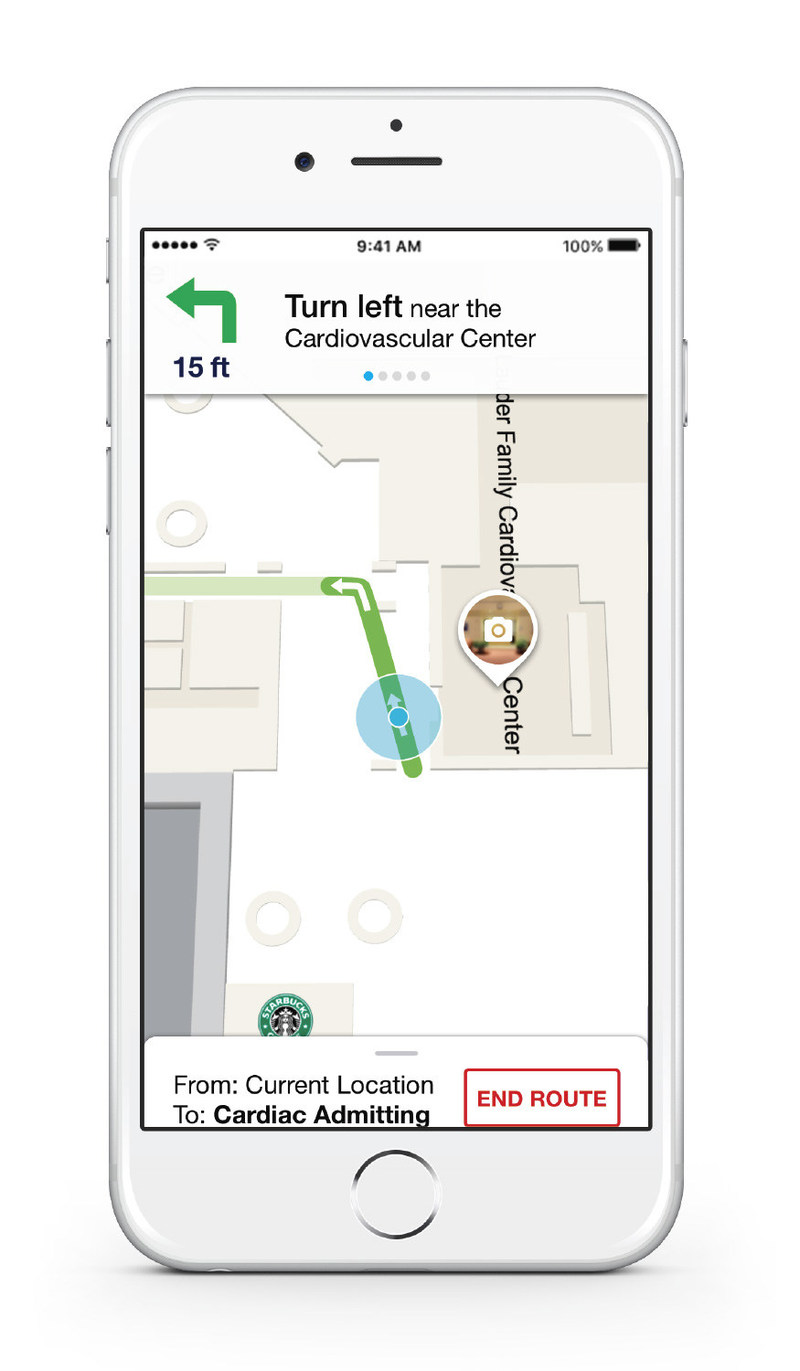 Connexient's MediNav features the world's most advanced turn-by-turn indoor navigation mobile application, with dynamic indoor positioning, visual landmarks, turn prompts, off route notifications and more.
