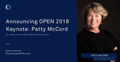 """The fastest-growing talent acquisition company, Greenhouse Software, will bring keynote speaker Patty McCord to its OPEN 2018 conference. McCord is the former Chief Talent Officer at Netflix, author of the new book """"Powerful: Building a Culture of Freedom and Responsibility"""" available today, and co-author of the famous Netflix Culture Deck."""