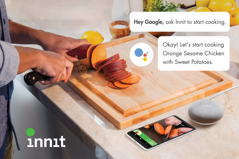Now, with the Google Assistant integration, consumers can navigate through Innit using their voice — no more worries about touching your phone while cooking. (PRNewsfoto/Innit)