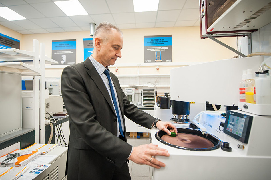 Project leader Yevgeny Gorelikov conducts laboratory tests of a magnet sample for an MRI scanner (PRNewsfoto/NUST MUSIS)
