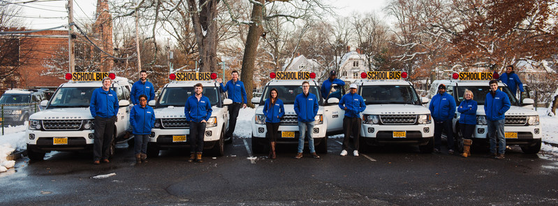 The Sheprd team with their fleet of Land Rover SUV School Buses. Each vehicle has been been certified as a 7D School Pupil Transport Vehicle by the Massachusetts Department of Transportation.