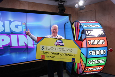 Robert Bronson of Brockville celebrates after spinning THE BIG SPIN Wheel at the OLG Prize Centre in Toronto to win $150,000. Bronson won a top prize with OLG's INSTANT game – THE BIG SPIN. (CNW Group/OLG Winners)