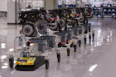 The work performed by AGVs in the SEAT factory reduces production time by 25% (PRNewsfoto/SEAT SA)
