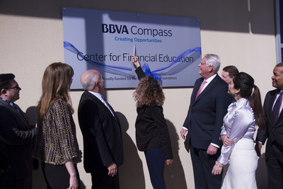 Octavia Martinez, a former Goodwill Central Texas program participant and one of its Outstanding Youth honorees, cut the ribbon Tuesday on the future site of the BBVA Compass Center for Financial Education. The BBVA Compass Foundation awarded Goodwill $250,000 to help build the facility at 1015 Norwood Park Blvd. in Austin. (Credit: Goodwill Central Texas)