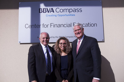 From left, Goodwill Central Texas President and CEO Jerry Davis, Octavia Martinez, and BBVA Compass Austin Market CEO Joe Petet. (Credit: Goodwill Central Texas)