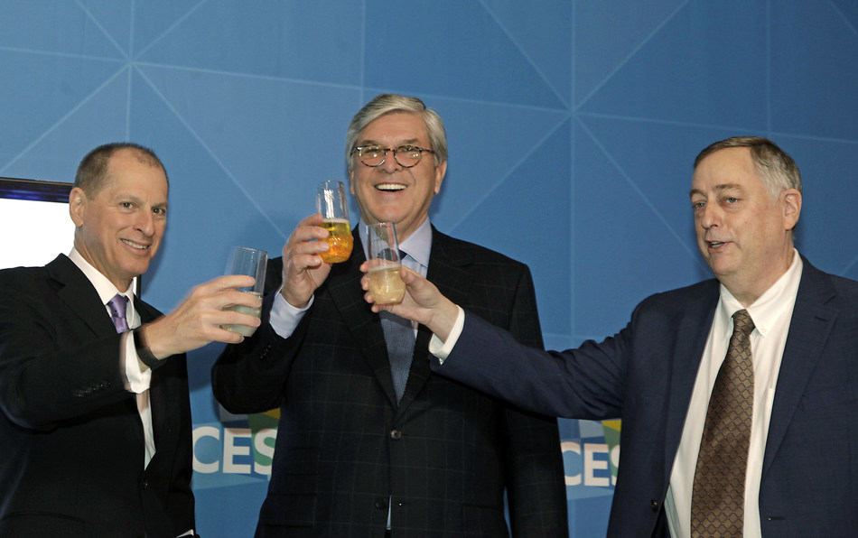 Toasting to the major milestone of the release of the ATSC 3.0 suite of next-generation television standards at CES 2018 are (left to right) Gary Shapiro, president and CEO, Consumer Technology Association; Gordon Smith, president and CEO, National Association of Broadcasters; and Mark Richer, President, Advanced Television Systems Committee.