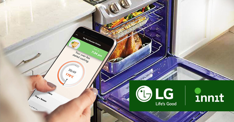 Innit's automated cooking programs work seamlessly with LG connected ovens and ranges featuring the company's LG SmartThinQ™ technology to help at-home chefs create meals with step-by-step support.