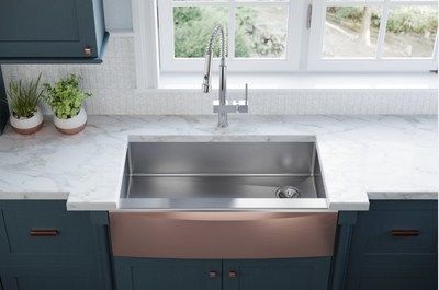 Elkay's Stainless Steel Farmhouse Sink with Interchangeable Apron Front debuted at the 2018 Kitchen & Bath Industry Show. This sink, launching later this year, allows homeowners to change out the apron front in a matter of minutes, transforming the kitchen with a new look without the major expense of a full kitchen remodel.