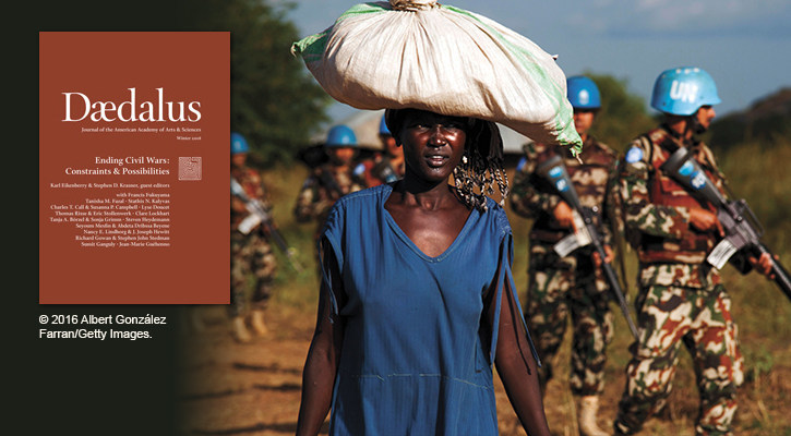 """Ending Civil Wars: Constraints & Possibilities,"" the Winter 2018 issue of Daedalus, the journal of the American Academy of Arts and Sciences, identifies impediments to ending civil wars and offers policy prescriptions for states and for the international community facing the spread of instability and humanitarian crises. Guest edited by Karl W. Eikenberry and Stephen D. Krasner."
