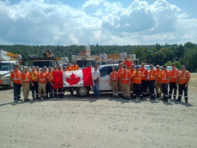 Hydro Ottawa sent a group of 26 employees, including highly skilled powerline maintainers, to rural Georgia to assist in power restoration after Hurricane Irma devastated many communities in the southern United States. (CNW Group/Hydro Ottawa Holding Inc.)