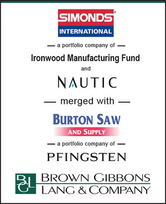 Brown Gibbons Lang & Company (BGL) is pleased to announce the merger of Simonds International (Simonds), a portfolio company of Ironwood Manufacturing Fund and Nautic Partners, with Burton Saw and Supply (Burton), a portfolio company of Pfingsten Partners. BGL also assisted in a capital raise to support a recapitalization of the combined company. BGL's Industrials & Building Products team served as the exclusive financial advisor.  Terms of the transaction were not disclosed.