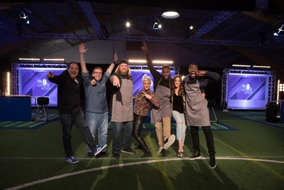 Group Shot: Celebrity Chef Josh Capon (judge); PepsiCo Executive Chef Stephen Kalil (judge); Nick Mangold (athlete);  Celebrity Chef Anne Burrell (judge); Rashad Jennings (judge); Kay Adams (host); and Greg Jennings (athlete)