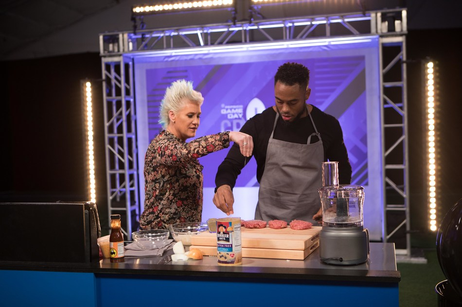 Chef Anne Burrell and Former Athlete Rashad Jennings in the kitchen for PepsiCo's Game Day Grub Match