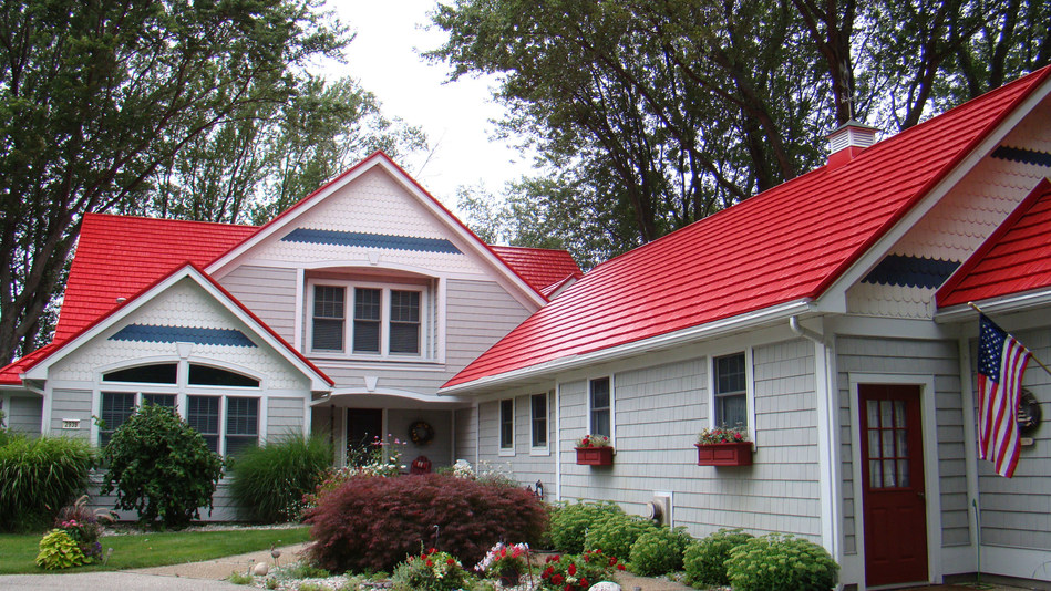 Bright roof colors are captivating homeowners' attention in 2018. Photo courtesy of American Metal Roofs of Michigan