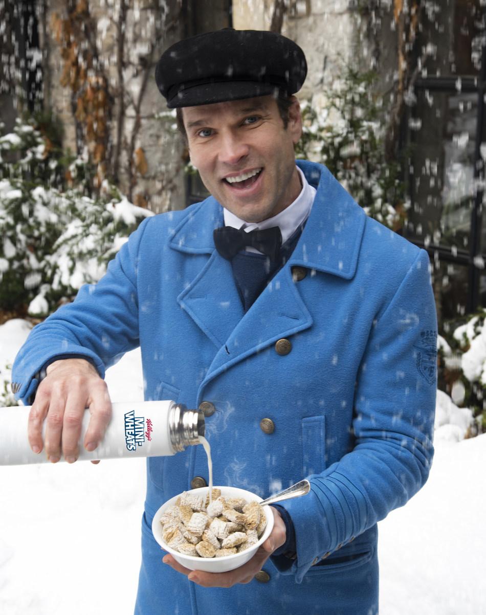 The Kellogg's Mini-Wheats Hot-Milk Man serves up a bowl of Mini-Wheats cereal with hot milk. (CNW Group/Kellogg Canada Inc.)