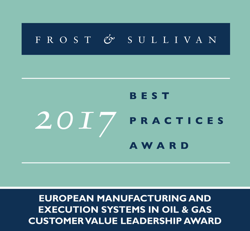 Frost & Sullivan recognizes Honeywell Process Solutions with the 2017 Europe Customer Value Leadership Award. (PRNewsfoto/Frost & Sullivan)