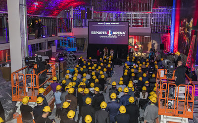 Guests in hard hats see Esports Arena Las Vegas, scheduled to open March 22, 2018, for the first time.