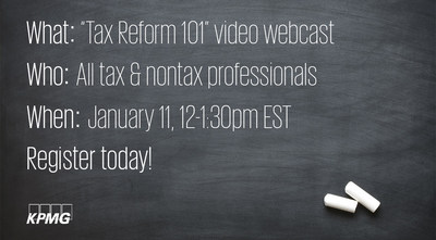 KPMG Webcast to Examine New Tax Reform Law from the Non-tax ...