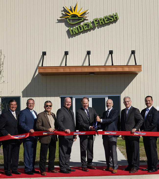 From left to right: Senator Eddie Lucio, Jr., Victor Perez, Dan Tippmann of Tippmann Innovation, John Grether of Index Fresh, Dana Thomas of Index Fresh, Rob Adams of Tippmann Innovation, and Mayor Dr. Ambrosio Hernandez.