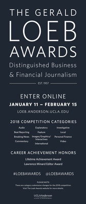 The Gerald Loeb Awards open the 2018 Call for Entries to recognize the best in business journalism. http://bit.ly/loeb2018