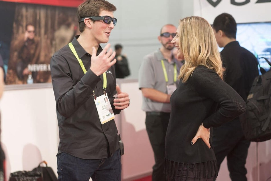Vuzix Blade in action at CES 2018 - Socially engaged and digitally connected.