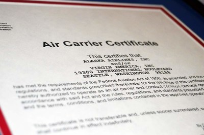 Major Integration Milestone: Alaska Airlines received single operating certificate today from the FAA