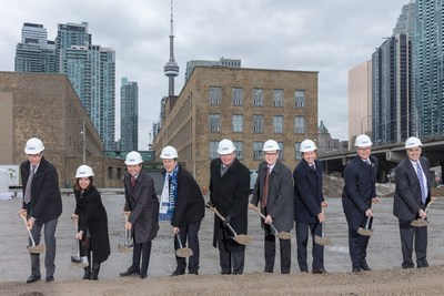 Sugar Wharf ground break photo left to right: Menkes President Low-Rise Residential Division Steven Menkes, Ward 28 Councillor Lucy Troisi, Menkes President High-Rise Residential Division Alan Menkes, Toronto Mayor John Tory, Ontario MPP and Finance Minister Charles Sousa, LCBO President & CEO George Soleas, Menkes President, Commercial/Industrial Division, Peter Menkes, Greystone Managed Investments Managing Director and CIO Ted Welter, Triovest CEO Vince Brown (CNW Group/Menkes Developments Ltd.)