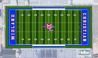 """Proposed rendering of the Midland Christian School field to be built by Hellas Construction with all organic Geo Plus Infill, Matrix Turf with Helix Technology, and Cushdrain Pad. """"Our fields can get up to 145 to 160 degrees in the heat of the summer,"""