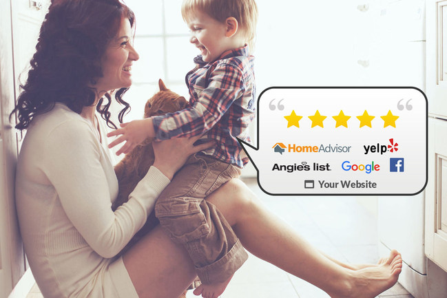 Easily collect 5-star reviews and share them to you website, social media, and review sites such as HomeAdvisor and Angie's List.