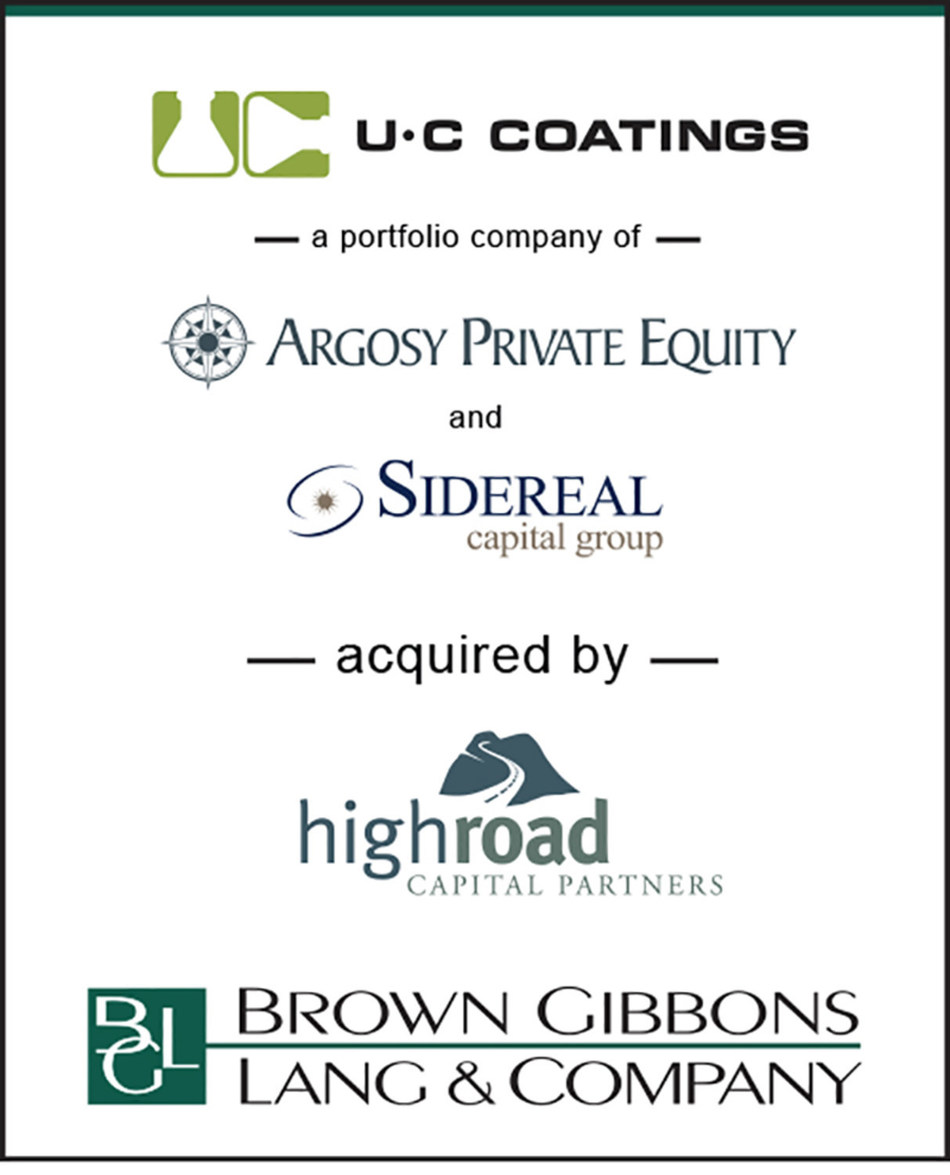 Brown Gibbons Lang & Company (BGL) is pleased to announce the sale of U.C Coatings, LLC (U-C Coatings), a portfolio company of Argosy Private Equity and Sidereal Capital Group, to High Road Capital Partners. BGL's Industrials & Engineered Materials team served as the exclusive financial advisor to U-C Coatings in the transaction.