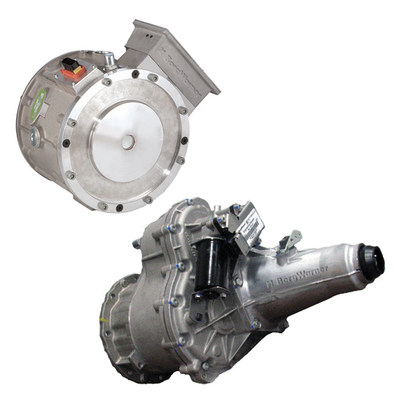 BorgWarner's HVH250 electric motor and eGearDrive® transmission propel the initial launch of the FUSO eCanter truck, the world's first series-produced all-electric light-duty truck.