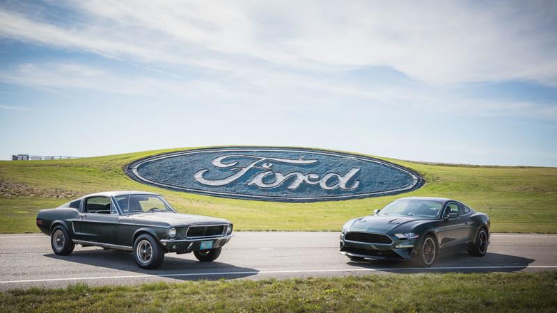 50 years of history - original Mustang from movie Bullitt meets new Mustang. Courtesy of HVA, Casey Maxon