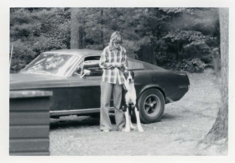 Sean's mom, Robbie Kiernan with family dog, Gatsby, alongside her daily driver in 1977. Courtesy of the Kiernan family