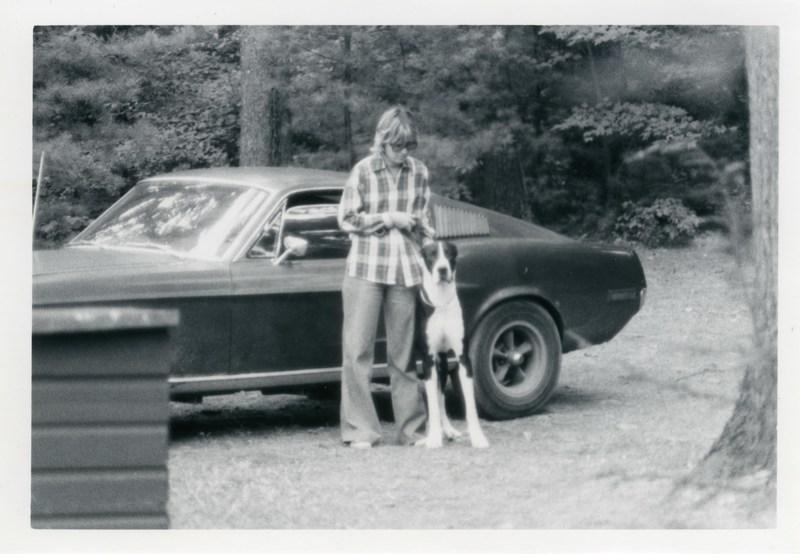Sean's mom, Robbie Kiernan with family dog, Gatsby, alongside her daily driver in 1977. Courtesy of the Kiernan family