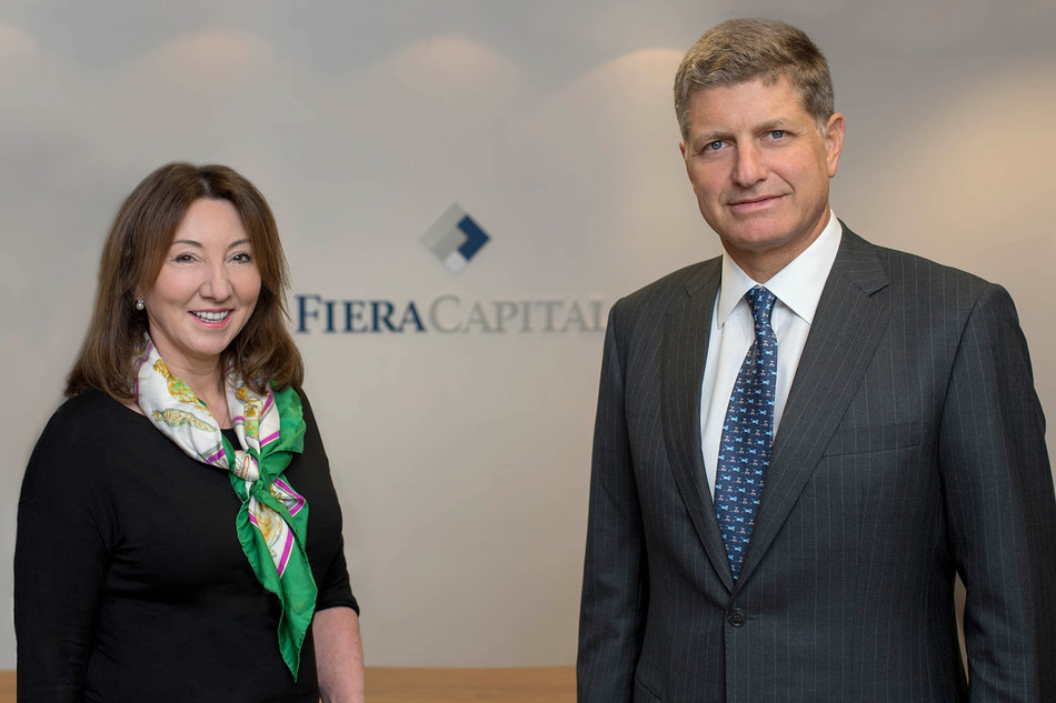 Jayne Sutcliffe, President and Chief Executive Officer of Fiera Capital's European Division is accompanied by Vincent Duhamel, Global President and Chief Operating Officer, Fiera Capital Corporation, to celebrate the division's name change in Europe. (CNW Group/Fiera Capital Corporation)